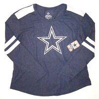 Dallas Cowboys Nfl Womens Authentic Apparel Blue Long Sleeve Logo Shirt Small