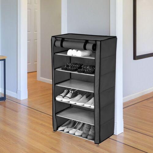 Gamme étagère à chaussures support toile tissu chambre ENFANT armoire embouteillage espace éventail gris