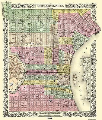 Old City Map - Philadelphia Pennsylvania - Colton 1855 - 23 x 27.19