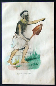 1845 Dally Antique Print of a Warrior From Tonga Islands