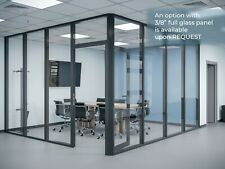 Cgp Glass Aluminum 2 Wall Office Partition System Withdoor 13x6x9 Black