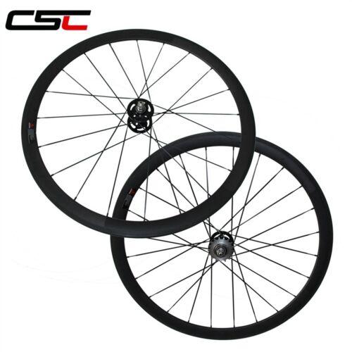 CSC 38mm Clincher fixed gear carbon carbon single speed flip flop wheels