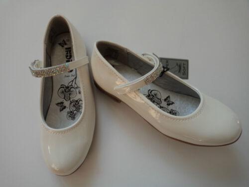 strass taille 33-38 Nouveau Filles Indigo Ballerine vernis blanc