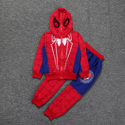Jungen Spiderman Hoodie Kinderkleidung Jacke Sweatshirt Hose Outfit Karneval Set