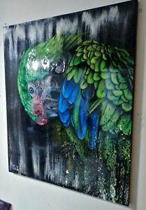 Peinture tableau huile sur toile surréaliste format 65/54 cm série animalière