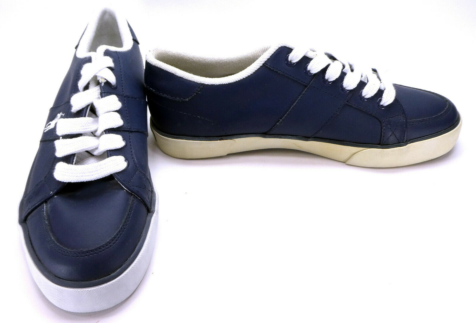 Polo Ralph Lauren shoes Harold Leather Navy bluee White Sneakers Size 8.5