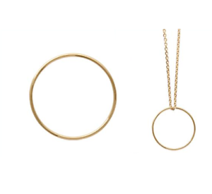 Pendentif Grand Cercle en Plaqué or 18 Carats 750//1000 Bijoux NEUF