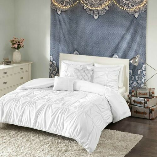 New Chic Design Grey White Pleated Comforter 5 pcs Full Queen Set twin 4 pcs