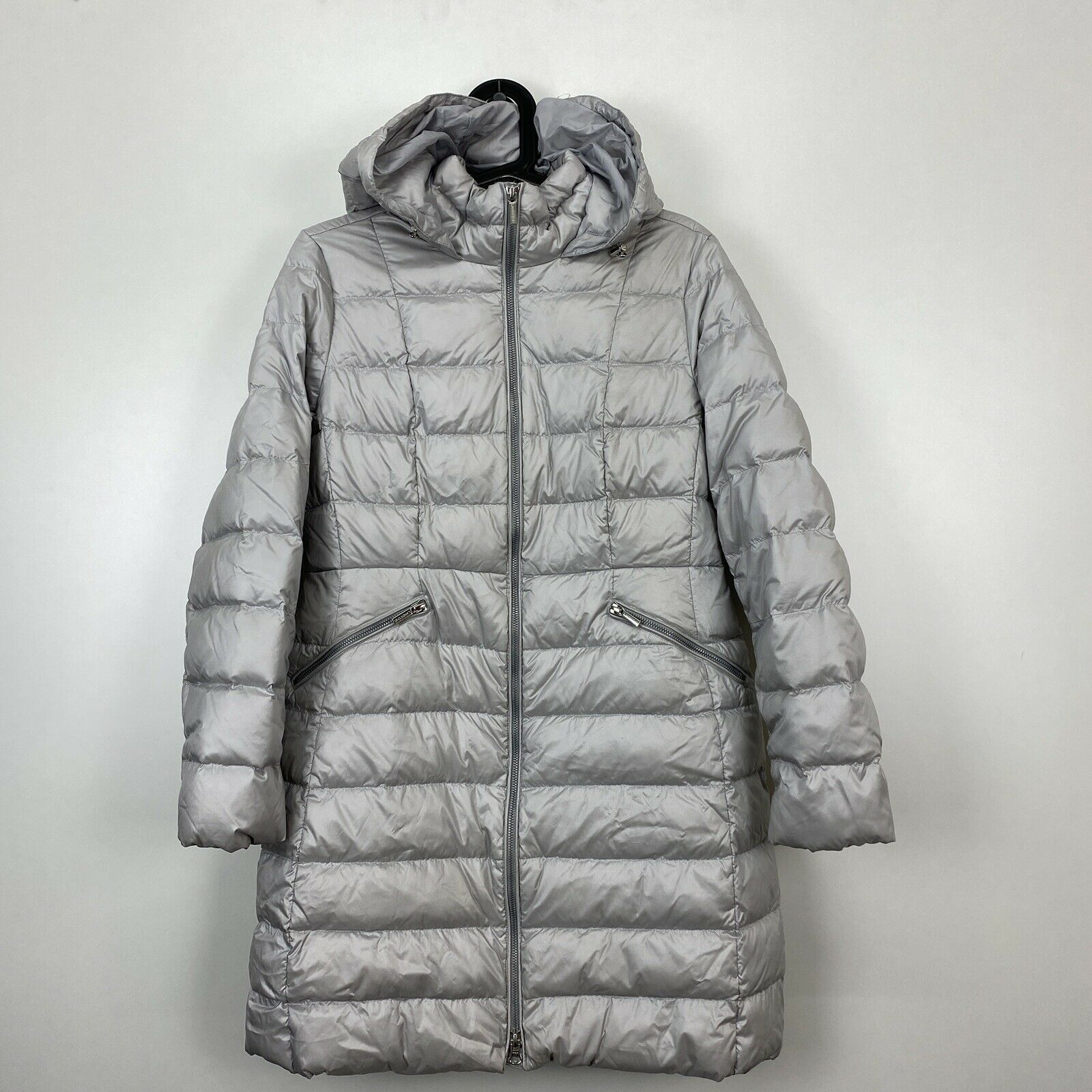 LANDS END Women's Silver/Grey Down Filled Winter Padded Coat w/Hood Size S Small