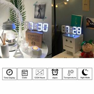 Modern-Digital-3D-White-LED-Wall-Clock-Alarm-Clock-Snooze-12-24-Hour-Display