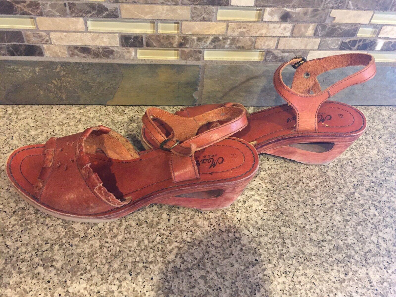 marchi di stilisti economici Vintage donna Martin's Sz 8 8 8 M Marrone Leather Wooden Cut OutHeels scarpe Brazil  scelte con prezzo basso