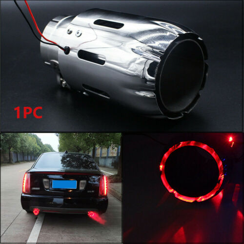 1PC Exhaust Tip 35MM IN-89MM Stainless Steel OUT Muffler w// Red LED Light Useful