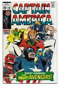 Silver-Age-1969-Captain-America-Comic-116-from-Marvel-Comics-The-Avengers