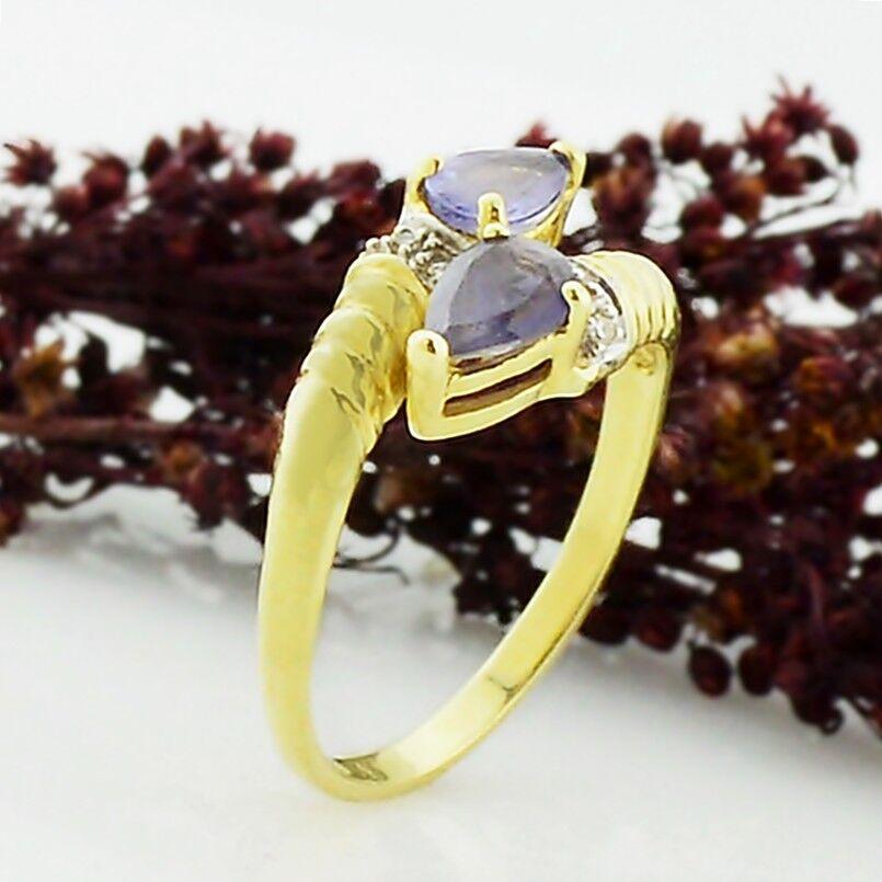 14k Yellow gold Estate Teardrop Tanzanite & Diamond Ring Size 8.25