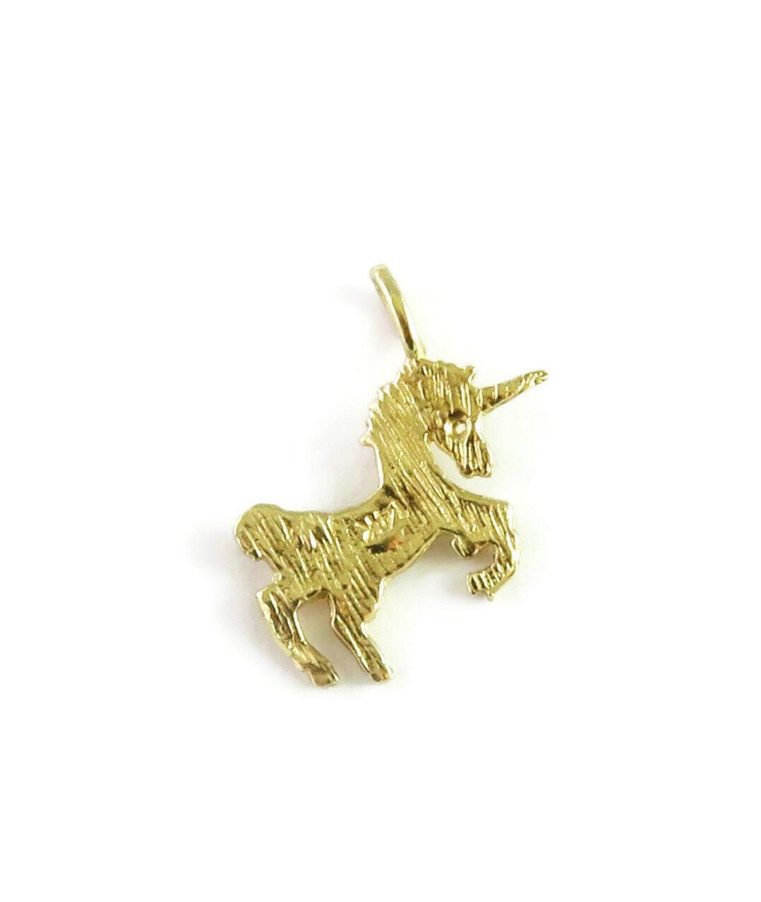 14K Yellow Gold Unicorn Charm Necklace Pendant ~ … - image 3