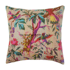 Decorative-Indian-16-039-039-Cotton-Kantha-Cushion-Cover-Throw-Case-Boho-Vintage-Decor