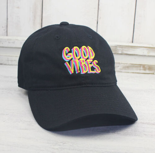 Good Vibes Dad Hat Embroidered Baseball Cap Curved Bill 100/% Cotton