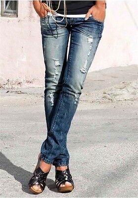 AJC Jeans Kurz Gr.19 (38) Damen Destroyed Röhre Hose Denim Stretch Blau Arizona | eBay