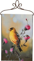 Golden Afternoon Birds Yellow Finch Wall Hanging