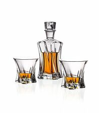 Bohemia Crystal Whiskey Set , Decanter and Six 11 Oz. Heavy-Base Whisky Glasses