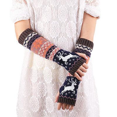 2015 Women Fingerless Knitted Gloves Winter Warm Long Arm Warmer Gloves Mittens