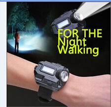 Tactical CREE LED 1000 Lm Display Rechargeable Wrist Watch Flashlight Torch LASR