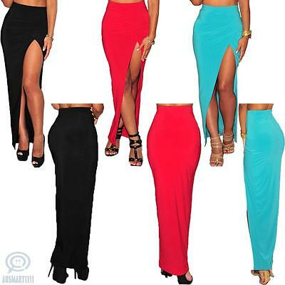 Womens Slit Maxi Long Elastic Skirt Ladies Formal Cocktail Office Casual Dress