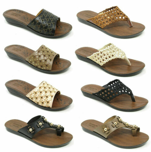 Womens Sandals Casual Beach Summer Mules Ladies Toe Post Toe Loop Flat Shoes SZ