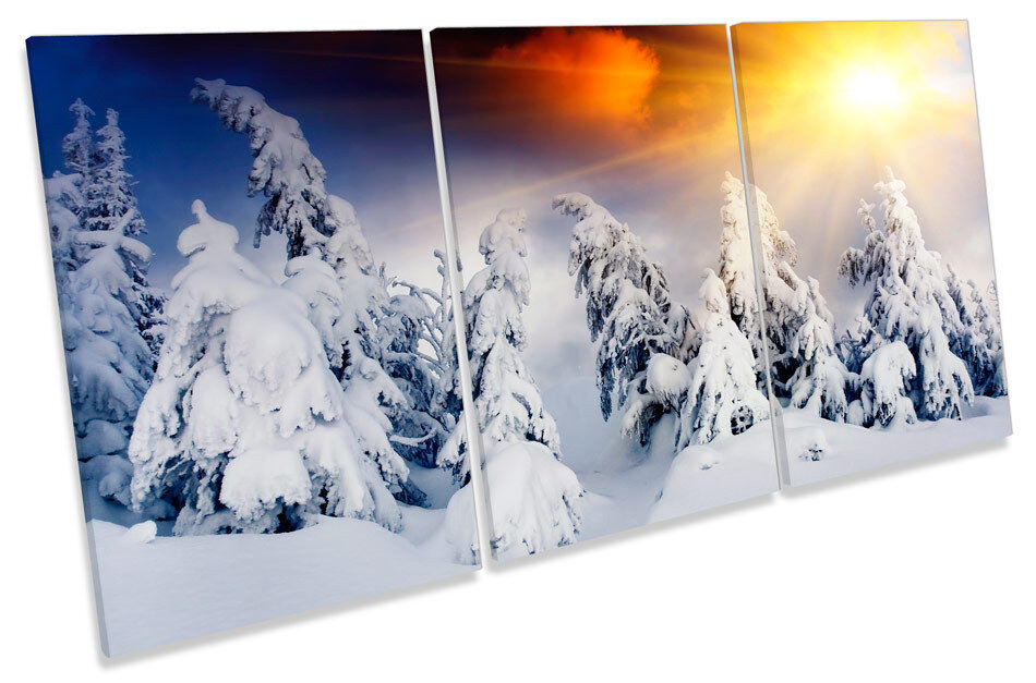 Sunset Winter Mountains Snow TREBLE CANVAS WALL ART Print Picture