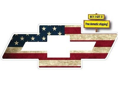 CHEVY BOW TIE SYMBOL LOGO W/ AMERICAN FLAG IMPOSED DECAL/STICKER CHEVORET p74