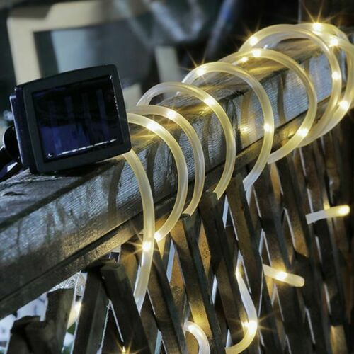 50 DEL solaire tube lumineux Guirlande lumineuse Tuyau wegbeleuchtung blanc chaud