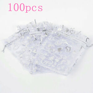 100PCS-9x12cm-White-With-Heart-Organza-Drawstring-Gift-Bag-Wedding-Gift-Bag-JI1