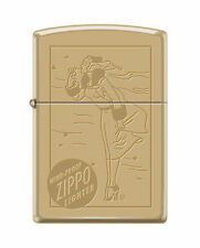Zippo Windproof Brass Lighter With Windy & Zippo Logo Engraved, New In Box