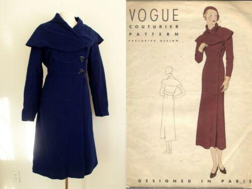 Vintage 1930s Women Vogue Couturier Princess Coat