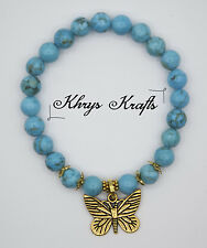 Antique Gold Butterfly and Blue Turquoise Natural Gemstone Beaded Bracelet