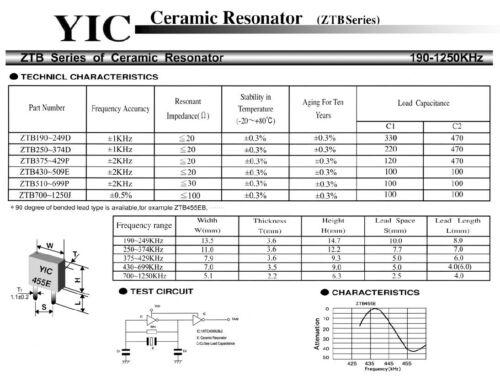 or 500kHz ZTB // CRB Series Ceramic Resonator 429kHz 455kHz 480kHz
