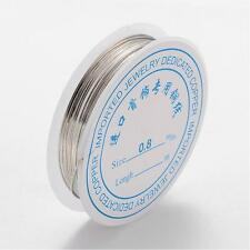 1 x 3M ROLL Silver Plated Copper Wire 0.8mm Nickel Free Jewellery Craft Making