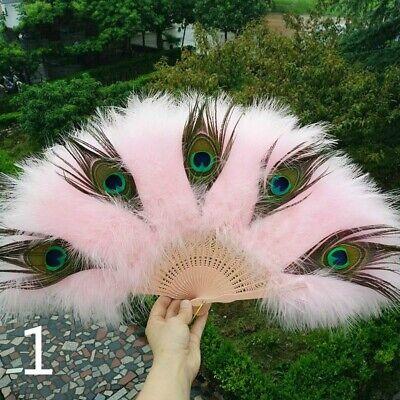 Women Marabou Feather Hand Fan Belly Dance Folding Retro Fancy Dress Novelty DIY