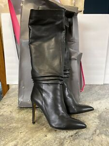 New-Vince-Camuto-Leather-Tall-Shaft-Stiletto-Boots-Kashiana-Black-Sz-9-5-M