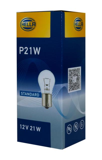 Hella 10 unidades, 21w bombilla luz trasera luz de freno lámpara p21w 12v ba15s claro