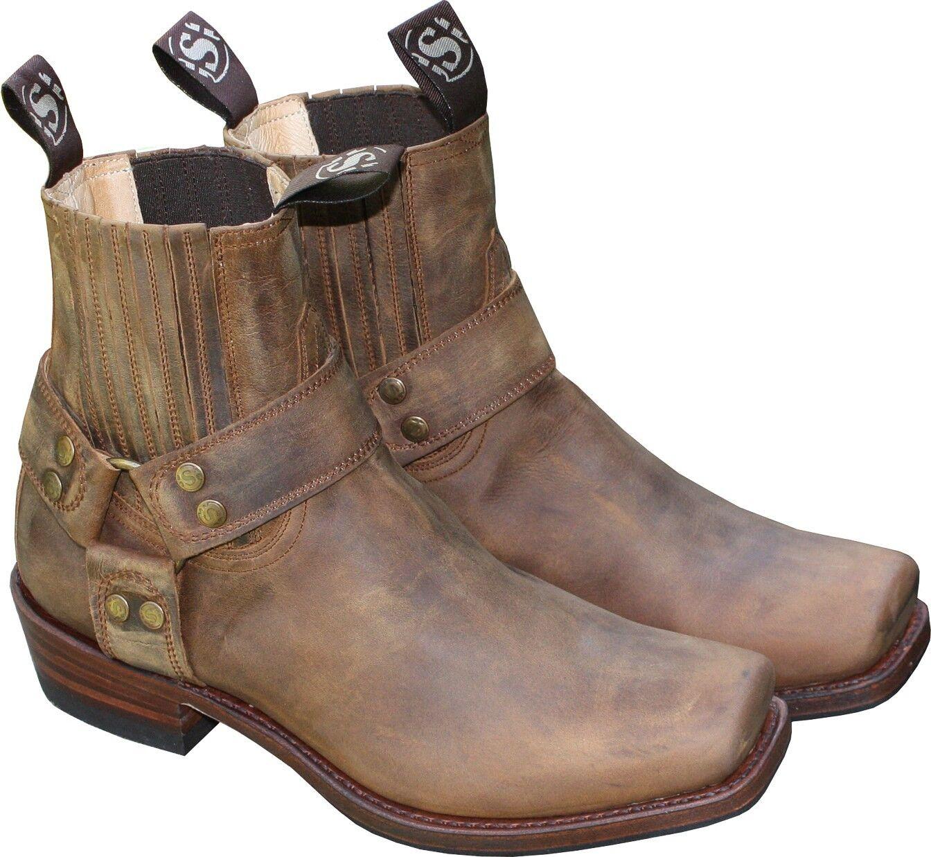 Sendra cuero-botín Biker-botas botas marrón señores señora short cut nuevo