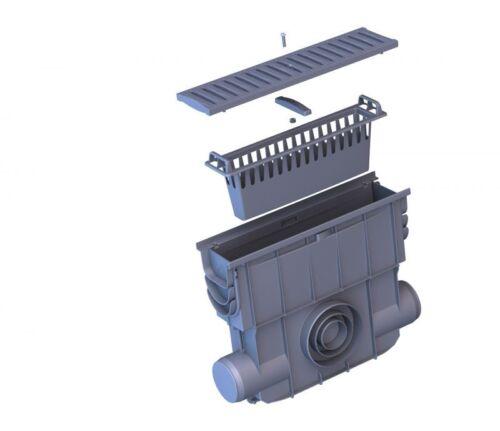 Kunststoffrost Einlaufkasten für Entwässerungsrinnen mit Schmutzfangkorb Rosts