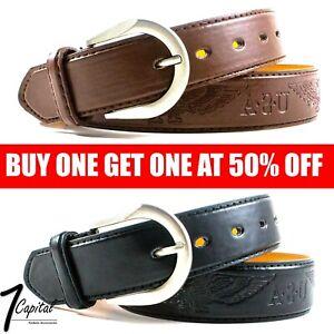 Men's Genuine Leather Metal Buckle Jean Casual Dress Belt Black Brown M L XL
