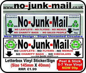 Details about Stop Junk Mail Unwanted Items Of Post (No Junk Mail Vinyl  Sticker/Sign) ID NJM