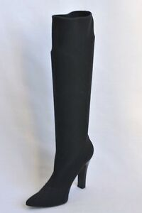 8bf20a86d23 DOLCE   GABBANA Boot Black Stretch Knee High Heel Tall Womens Pointy ...