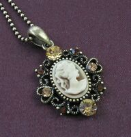 Brown Heart Design CAMEO Necklace Chain Pendant Antique Gold Tone Vintage Style