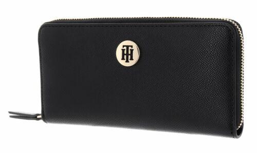 TOMMY HILFIGER Classic Saffiano Large Zip Around Wallet Geldbörse Black