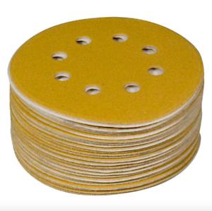 Powertec 6 in 60 Grit Hook and Loop Sanding Sandpaper Sander Disc 8 Hole 50 Pack