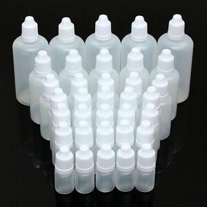 1/10x 5ML-100ML BOCCETTE CONTAGOCCE BOTTIGLIA PLASTICA VUOTO BOTTIGLIE PET/LDPE