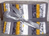"""20~Jelly Roll 2.5"""" Yellow Gray White Fabric Strips Quilting 100%Cotton Patchwork"""